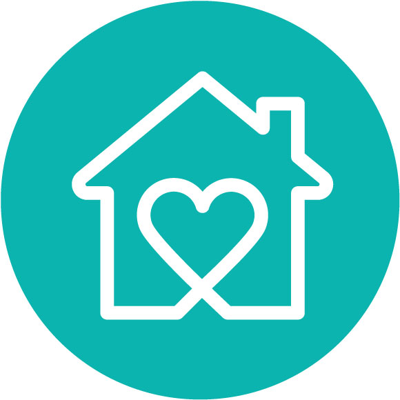 House with heart inside icon - Care provided locally
