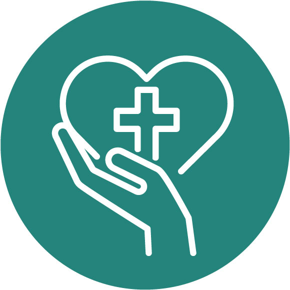 Hand holding heart with cross inside icon - Caregivers