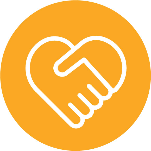 Hands shaking to form heart icon - Recognition connection