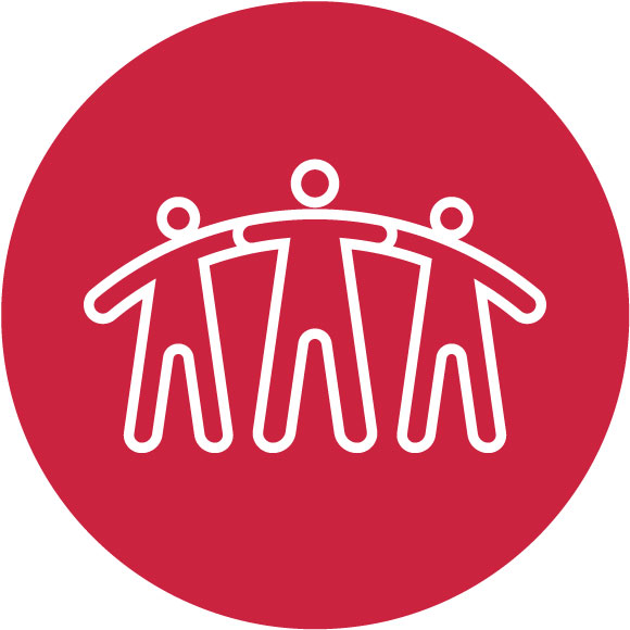 Three people with arms on eachothers sholders icon - Relationships
