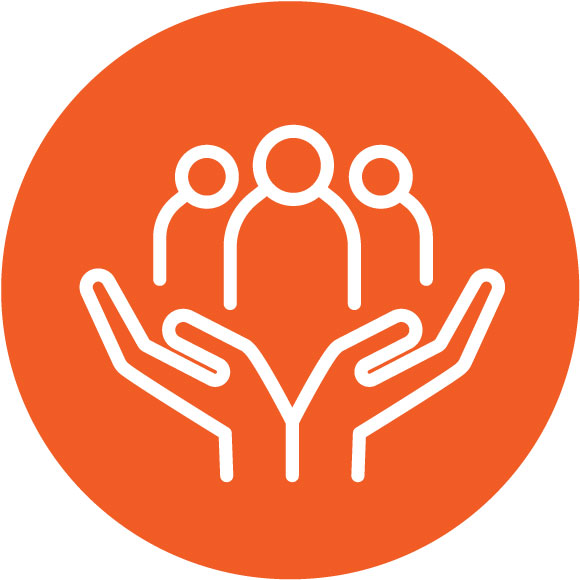 Hands holding up three people icon - Support encouraging culture