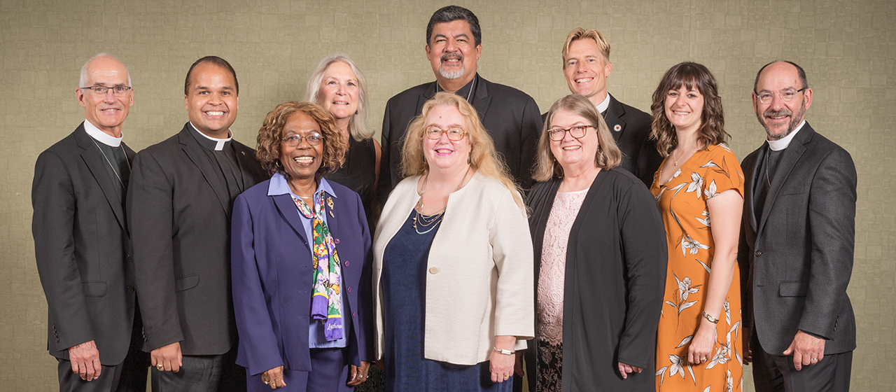 LCMS Board of National Mission members (from left to right): Rev. Steven Briel, chairman; Rev. Dr. Dien Taylor; Mrs. Janis McDaniels; Mrs. Martha Milas; Mrs. Carol Hack Broome; Rev. Dr. Alfonso Espinosa, vice-chairman; Mrs. Carla Claussen; Rev. Timothy Droegemueller; Mrs. Crysten Sanchez, secretary; and Rev. Peter Bender. Not pictured: Mr. Patrick Kyler.